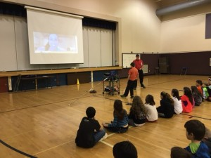 U.S. Olympic Pole Vaulter April Steiner Bennett Skyped in to talk to students about pole vaulting