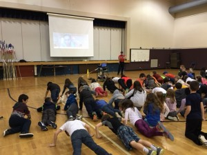 U.S. Olympic hopeful pole vaulter April Steiner Bennett Skyped in to talk to students about pole vaulting.  She also challenged us to a push-up contest.